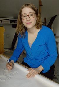 Anni Arffman työhuoneellaan Pikisaaressa 2016
